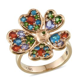 GP Russian Diopside (Hrt), Tanzanite, Malgache Neon Apatite, Jalisco Fire Opal, Kanchanaburi Blue Sapphire and Natural Cambodian Zircon Floral Ring in 14K Gold Overlay Sterling Silver 2.450 Ct.