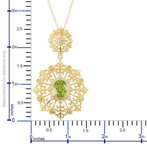 Hebei Peridot (Ovl 3.50 Ct), White Topaz Pendant With Chain in Yellow Gold Overlay Sterling Silver 4.450 Ct.