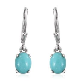 Sonoran Turquoise (Ovl) Lever Back Earrings in Platinum Overlay Sterling Silver 2.000 Ct.