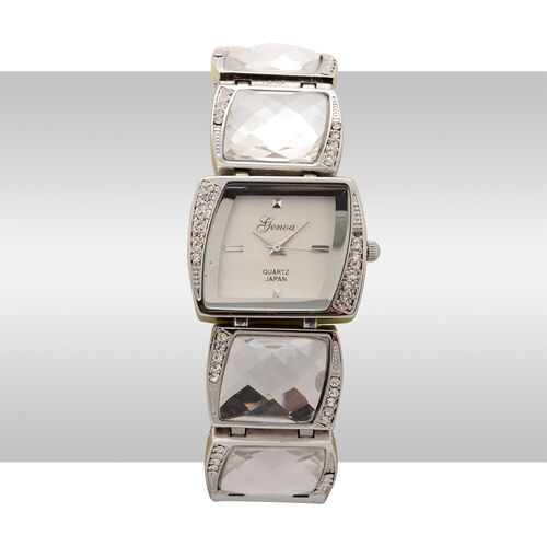 GENOA Japanese Movement White Dial White Austrian Crystal Water Resistant Watch in Silver Tone Strap with White Glass