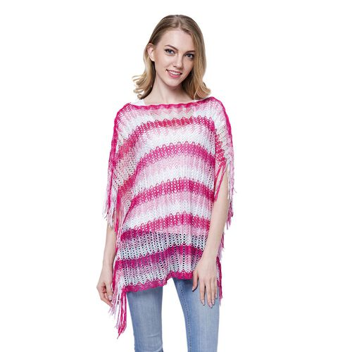 White, Dark and Light Pink Colour Stripe Pattern Poncho (Size 90x55 Cm) and White Colour Vest (Size 60x55 Cm)