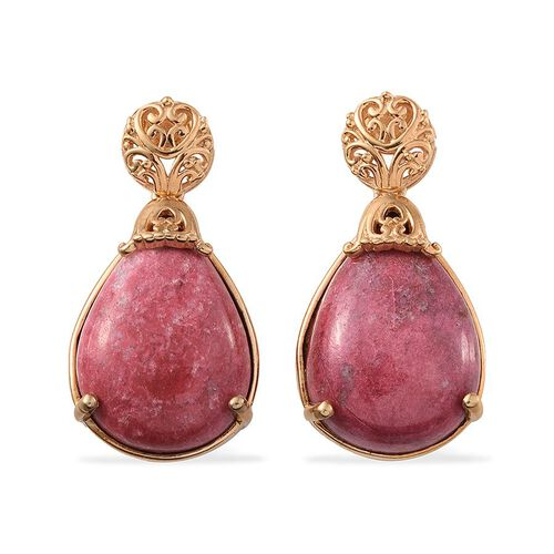 Norwegian Thulite (Pear) Earrings in 14K Gold Overlay Sterling Silver 28.750 Ct.
