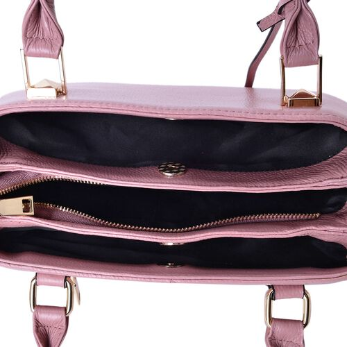 Limited Edition-Designer Inspired-Genuine Leather Butterfly Charm Pink Colour Handbag with External Zipper Pocket and Adjustable and Removable Shoulder Strap (Size 30X23.5X11 Cm)