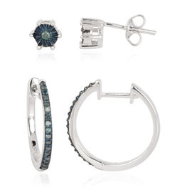 Set of 2 - Blue Diamond (Rnd) Hoop (With Clasp) and Stud Earrings (With Push Back) in Sterling Silver 0.330 Ct.