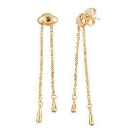 LucyQ Long Raincloud Earrings (with Push Back) in Yellow Gold Overlay Sterling Silver 6.63 Gms.