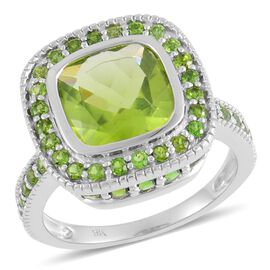 9K W Gold AAA Hebei Peridot (Cush 3.25 Ct), Russian Diopside Ring 4.750 Ct.