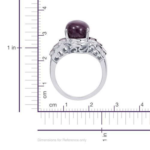 Star Ruby (Ovl 8.00 Ct), Mozambique Garnet and Diamond Ring in Platinum Overlay Sterling Silver 9.000 Ct.