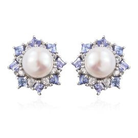Pearl, Tanzanite and White Topaz Silver Halo Stud Earrings with Push Back in Platinum Overlay