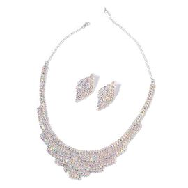 AAA White Austrian Crystal Necklace (Size 18 with Extender) and Earrings (with Push Back) in Silver Tone