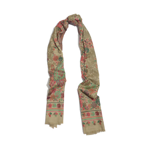 100% Merino Wool Multi Colour Leaves Pattern Cream Colour Scarf (Size 200x70 Cm)