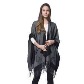 Made with Merino Wool Blend - Reversible Black and Grey Poncho - One Size Fits All
