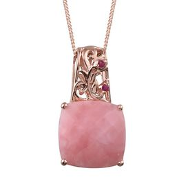 GP Peruvian Pink Opal (Cush 6.75 Ct), Burmese Ruby and Kanchanaburi Blue Sapphire Reversible Pendant With Chain in Rose Gold Overlay Sterling Silver 7.000 Ct.