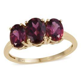 9K Y Gold AAA Odisha Rhodolite Garnet (Ovl 1.50 Ct) 3 Stone Ring 3.500 Ct.
