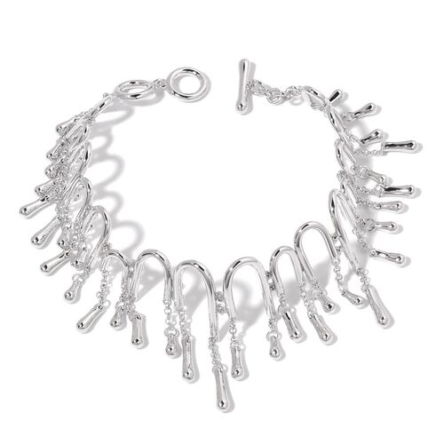 LucyQ Multi Drip Bracelet (Size 7.5) in Rhodium Plated Sterling Silver 26.73 Gms
