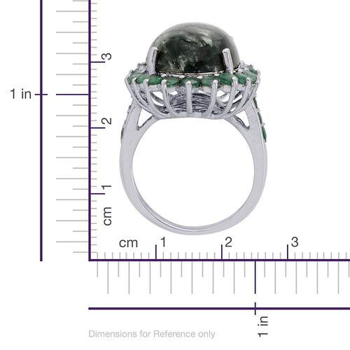 Siberian Seraphinite (Ovl 9.50 Ct), Kagem Zambian Emerald Ring in Platinum Overlay Sterling Silver 11.000 Ct.