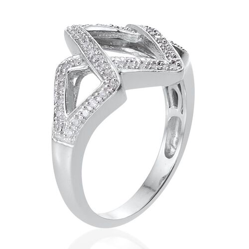 Diamond (Rnd) Chevron Ring in Platinum Overlay Sterling Silver 0.250 Ct.