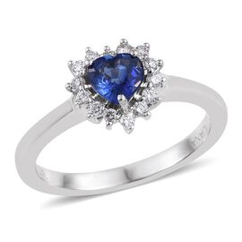 ILIANA 18K W Gold AAAA Kanchanaburi Blue Sapphire (Hrt 0.75 Ct), Diamond Heart Ring 1.000 Ct.