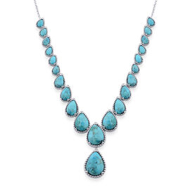 Blue Mojave Turquoise (Pear) Necklace (Size 18) in Platinum Overlay Sterling Silver 32.000 Ct.