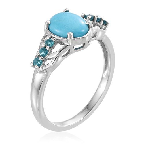 Arizona Sleeping Beauty Turquoise (Ovl 1.50 Ct), Malgache Neon Apatite Ring in Platinum Overlay Sterling Silver 1.750 Ct.