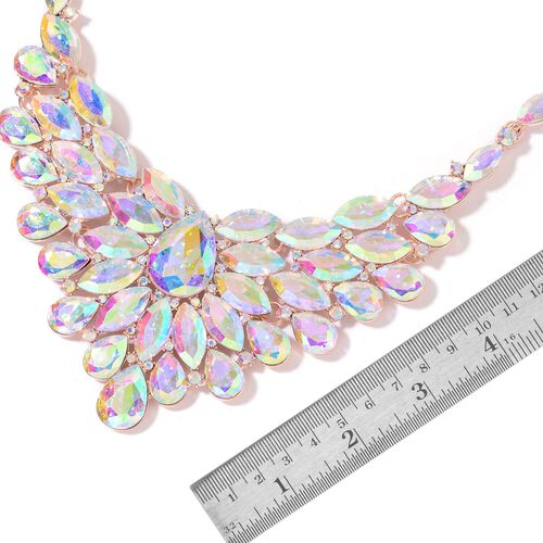 Simulated Mystic Topaz and Multi Colour Austrian Crystal BIB Necklace (Size 22 with 4 inch Extender) and Earrings (with Push Back) in Rose Gold Tone