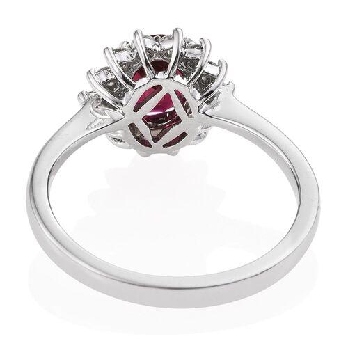 RHAPSODY 950 Platinum 1.25 Carat Rare Rubelite Oval Halo Ring, Diamond VS E-F Ring.