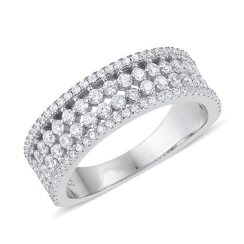 ELANZA AAA Simulated White Diamond Ring in Platinum Overlay Sterling Silver
