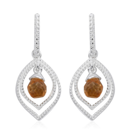 Citrine Drop Earrings (with Push Back) in Sterling Silver 3.250 Ct.