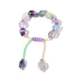 Fluorite Adjustable Bracelet (Size 7.5) in Silver Tone 178.300 Ct.