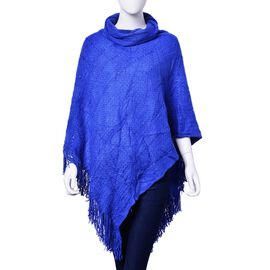 Blue Colour Poncho with Long Collar and Sequin (Size 90x80 Cm)