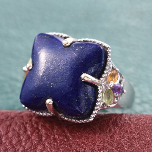 Stefy Lapis Lazuli, Hebei Peridot, Citrine, Amethyst and Pink Sapphire Ring in Platinum Overlay Sterling Silver 25.750 Ct.