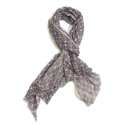 100% Cotton Purple Colour Flowers Printed Aubergine Colour Scarf (Size 220x100 Cm)