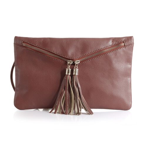 Genuine Leather Burgundy Colour Sling Bag with External Zipper Pocket and Adjustable Shoulder Strap
