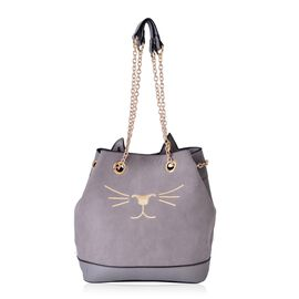 Grey Colour Cat Pattern Tote Bag With Chain Strap (Size 27x25x13 Cm)