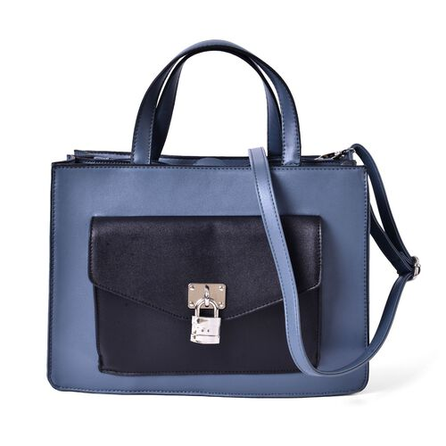 DOD - Black and Blue Colour Tote Bag With Adjustable and Removable Shoulder Strap (Size 34.5x24x12.5 Cm)