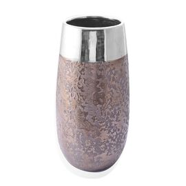 (Option 1) Metalic Brown and Silver Colour Stoneware Ceramic Flower Vase (Size 25 Cm)