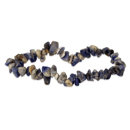 Sodalite and Howlite Two Bracelets (Size 7.50) and Two Hook Earrings in Stainless Steel 448.000 Ct.