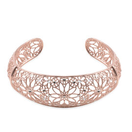 JCK Vegas Collection Rose Gold Overlay Sterling Silver Floral Cuff Bangle (Size 7), Silver wt 13.20 Gms.