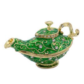 Green Enameled Lamp Shape Trinket Box in Gold Tone Decorated with White Austrian Crystal