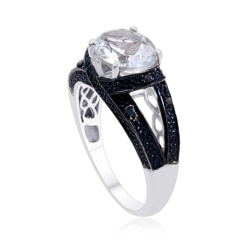 Espirito Santo Aquamarine (Ovl 2.00 Ct), Blue Diamond Ring in Platinum Overlay Sterling Silver 2.070 Ct.