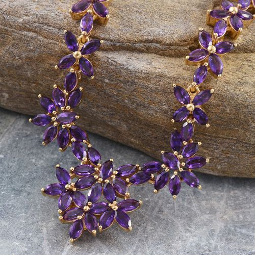 AA Lusaka Amethyst (Mrq) Necklace (Size 18) in 14K Gold Overlay Sterling Silver 13.750 Ct.