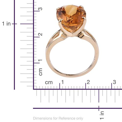 9K Y Gold Rare Size AAA Citrine (Ovl) Solitaire Ring 13.75 Ct.