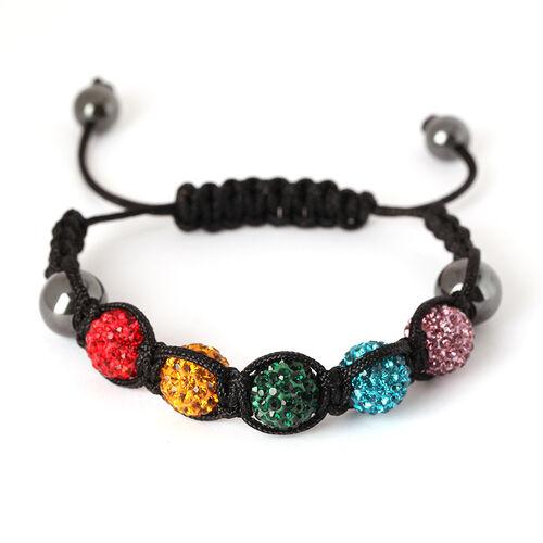 Hematite and Multi Colour Austrian Crystal Bracelet (Adjustable)