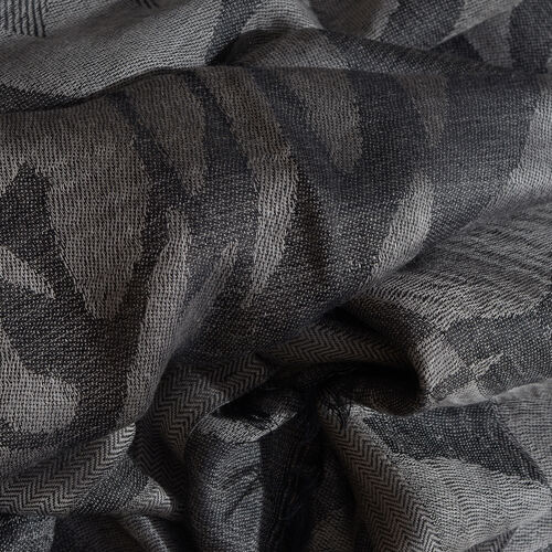 Humming Bird Pattern Black Colour Jacquard Scarf with Tassels (Size 180x70 Cm)