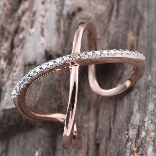 Diamond (Rnd) Criss Cross Ring in Rose Gold Overlay Sterling Silver