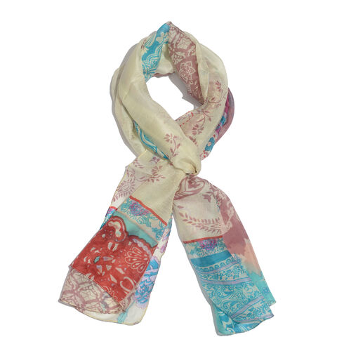 SILK MARK - Made in Kashmir 100% Silk Pink, Green and Multi Colour Floral and Paisley Pattern Cream Colour Scarf (Size 180X50 Cm)