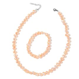 Fresh Water Peach Pearl Necklace (Size 18 with 2 inch Extender) and Stretchable Bracelet (Size 7.50) in Stainless Steel