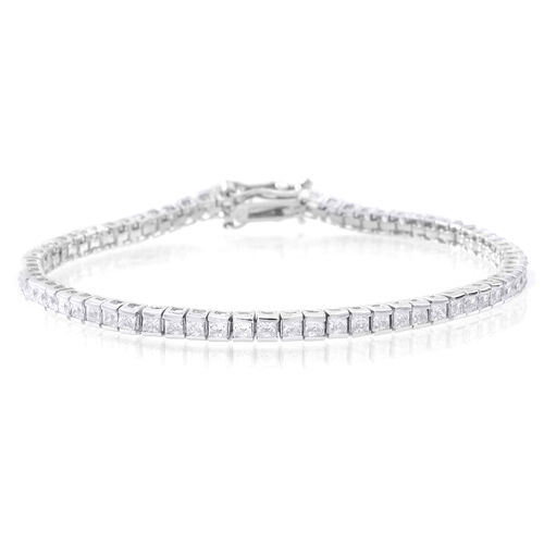 ELANZA AAA Princess Cut Simulated White Diamond (Sqr) Tennis Bracelet (Size 8) in Rhodium Plated Sterling Silver