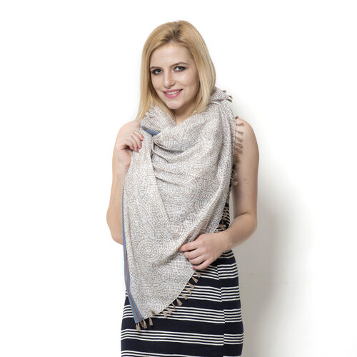 100% Cotton Light Grey Colour Hand Block Printed Scarf (Size 195x105 Cm)