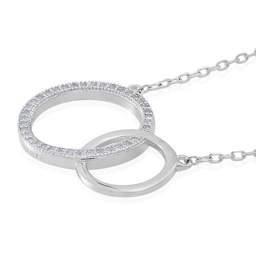 ELANZA AAA Simulated White Diamond (Rnd) Circle Necklace (Size 16) in Rhodium Plated Sterling Silver