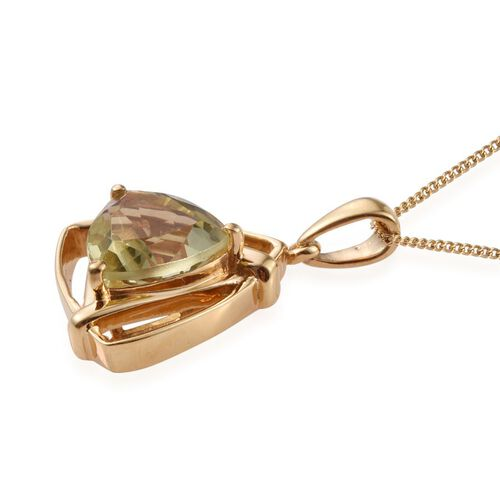 Natural Ouro Verde Quartz (Trl) Solitaire Pendant With Chain in 14K Gold Overlay Sterling Silver 3.250 Ct.